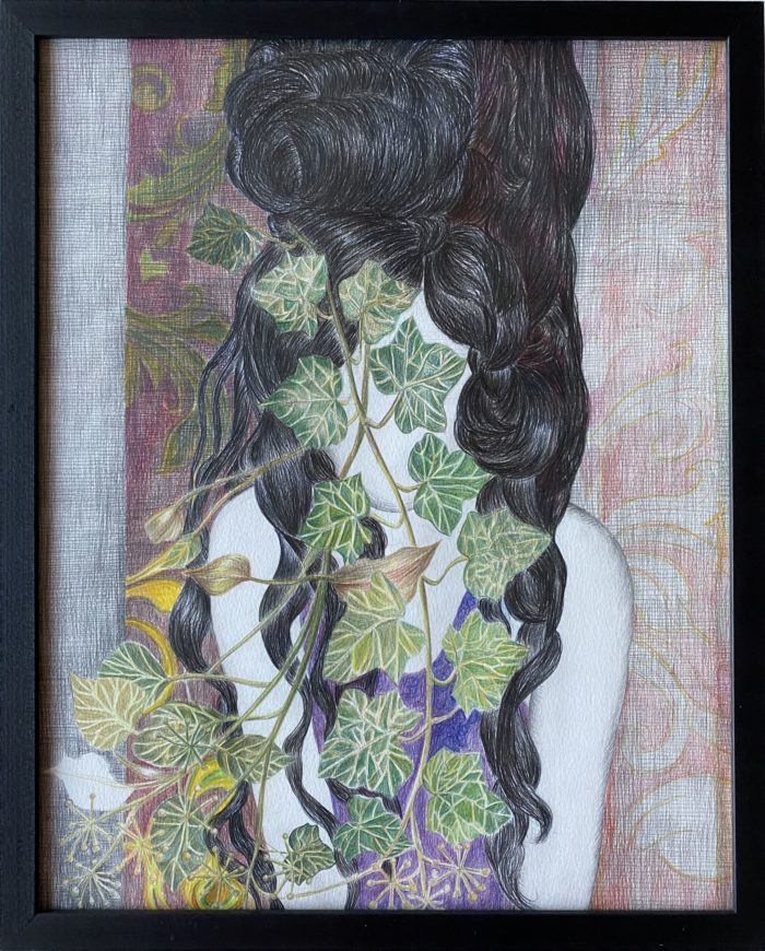 """DANIELLE LEMAIRE - """"Amy (Winehouse)"""" - crayon on Canson Montval paper (with frame)"""