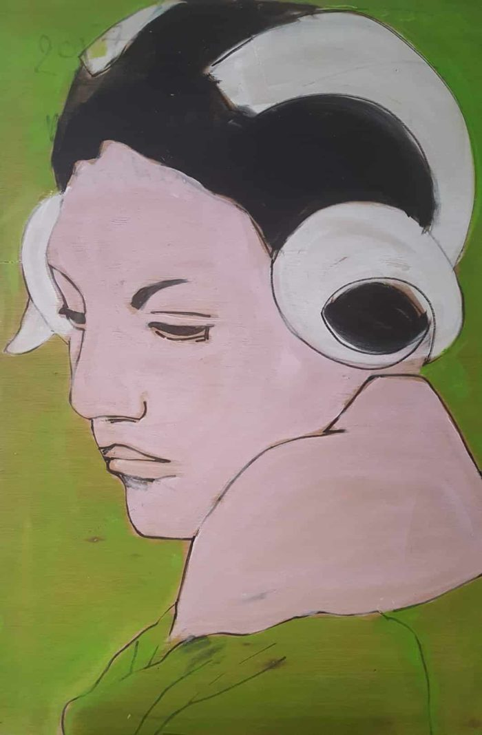 "NATHALIE MATSAKOS - ""Woman with ram's horns"" - acrylic on surplus wood"
